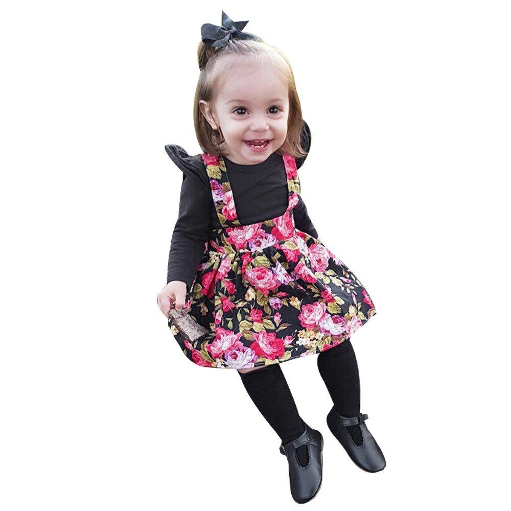 feiXIANG Bebé recién Nacido Ropa para niños niñas niños Tops Tops + Vestido Estampado Pettiskirt Princesa niña Vestido Fiesta de los niños Traje de ...