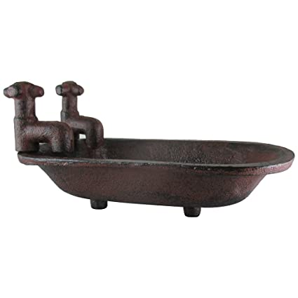 Home Creative Co-op Secret Garden Decorative Iron Soap Holder with Faucet Bath