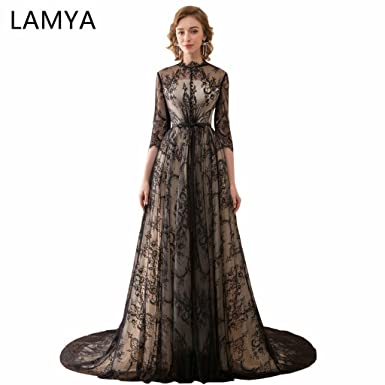 Lamya Black A Line Prom Dresses O Neck Three Quarter Sleeve Prom Gowns Lace