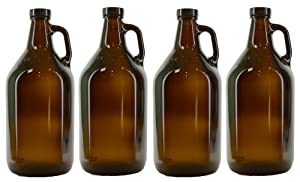 True Fabrications 1/2 Gallon Brown Beer Growler with poly seal caps, Reusable, Has Uv Protection (Pack of 4)