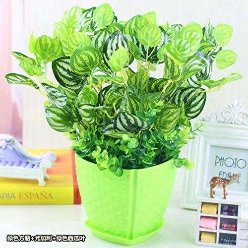 MEILI FLOWER Flor de simulación simulación verde de las plantas de maceta de flores planta hierba TRAJE TRAJE DE PLÁSTICO,L: Amazon.es: Hogar