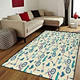 Sport,Door Mat Small Rug,Bicycles Skates Boards Wheeled Physical Activity Equipment Lifestyle Pattern,Bath Mat 3D Digital Printing Mat,Blue Coral Beige,3x5 ft