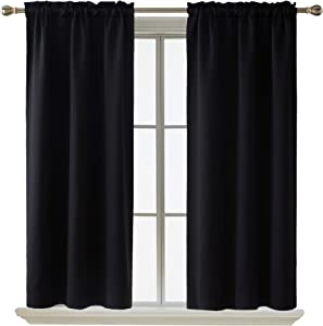 Deconovo Blackout Curtain Room Darkening Thermal Insulated Curtains Rod Pocket Window Curtain for Bedroom Black 38 x 45 Inch 2 Panels