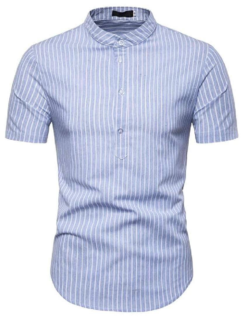 GRMO-Men Casual Striped Short Sleeve Henley Shirt with Button