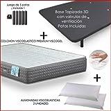 Dulces Sueños Pack COLCHON VISCOELASTICO Premium + Base…