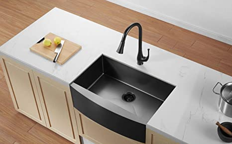 ALWEN Farmhouse Sink 33 inch Gunmetal Black Apron Kitchen ...