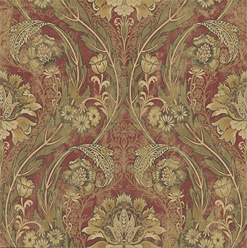 Mayflower Wallpaper Vintage Red Gold Green Bronze Victorian Arts and Crafts Classic Damask Double ()