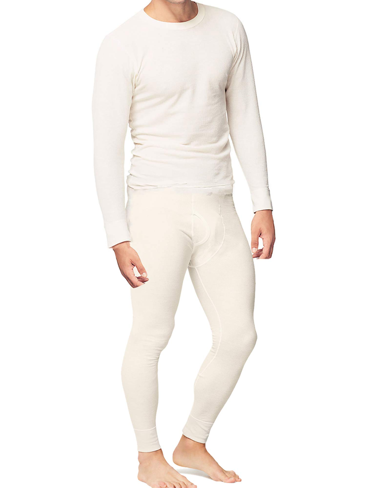 Place and Street Men's Cotton Thermal Underwear Set Shirt Pants Long Johns Fleece Lined White by Place and Street