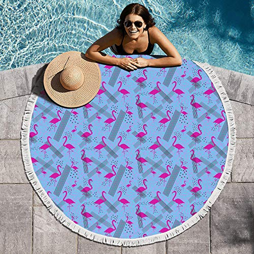 LONGSPQGHP Colorful Pink Flamingo in Memphis Style 60 Inch Large Thick Beach Towel Round Beach Towel Blanket Ultra Soft Printed Design Yoga Mat Perfect for Yoga Mat Mandala Rugs]()