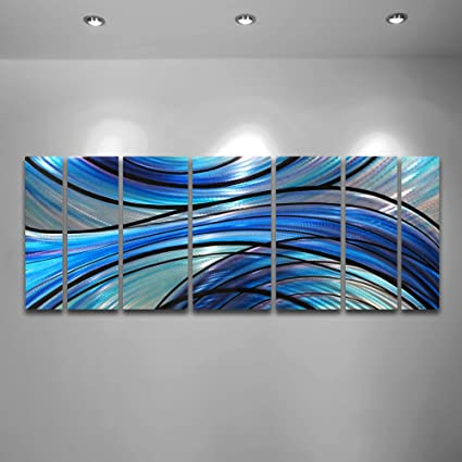 Modern Abstract Large Metal Wall Art Panels Cascade Contemporary Blue Purple Large Sculpture Amazon Co Uk Kitchen Home
