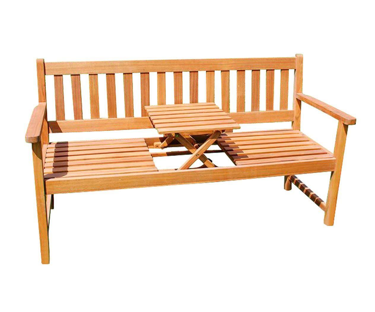 SAM 3-Sitzer Gartenbank Lorenzo Holzbank mit integriertem & einklappbarem Tisch, 157 x 60 cm, Akazie massiv, FSC 100% Zertifiziert