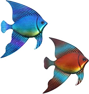 2 Packed Metal Tropical Angelfish Wall Art Decor Hanging Vivid Colorful Fish Nautical Theme Garden Decorations For Patio, Pool Or Porch Outdoor Or Indoor
