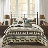 7 Piece Animal Print Comforter Set Cal King, Motif Herringbone Printed, Stripe Pattern, Casual Style Cabin Embroidered pleats Lodge Design, Cozy, Charming Texture Bedding, Teal Green, Brown Color