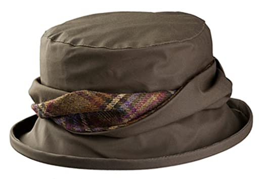 1e5e0bb3b7e Olney Emma Waterproof Wax Hat with Tweed Trim (Army Green) at Amazon Women's  Clothing store: