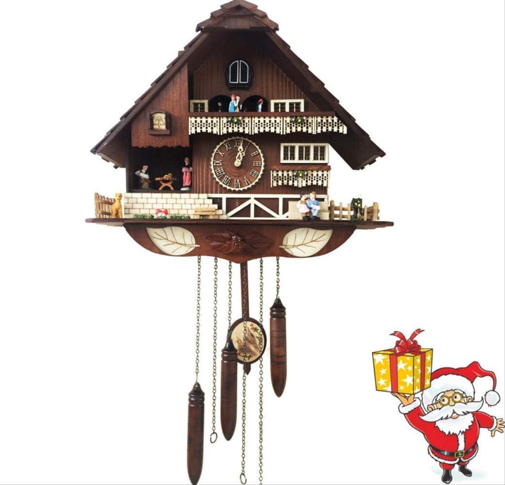 tytlclock Reloj De Pared De Cuco del Bosque Negro, Reloj Creativo De Madera Silencioso De La Sala De Estar, Vintage Simple Grande para Navidad, 20 Pulgadas