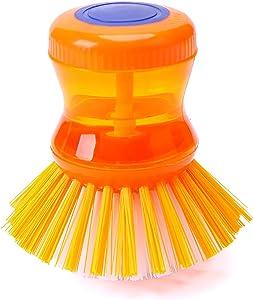 Grips Nylon Brush Soap Brush Soap Dispensing Palm Brush Kitchen Brush for Pot Pan Sink Cleaning Soap Brush with Non-slip Handle