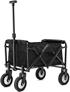 PA Collapsible Folding Wagon Foldable Outdoor Beach Shopping Garden Cart with Wheels Push Or Pull (IPA009201BH)