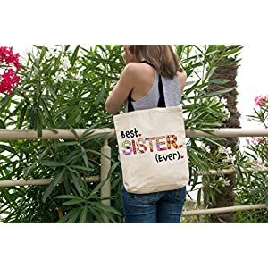 Best Sister Ever Gift Reusable Shopping Gym Yoga Beach Book Tote Bag, 18x18x2