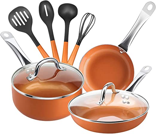 Black, 10PCS 9inch Omelet 1qt 2 qt Saucepan 5.qt Stockpot Electric SHINEURI Pots /& Pans Set 10 Pieces Cookware Set 8inch Fry Pan for Induction Gas Stovetop