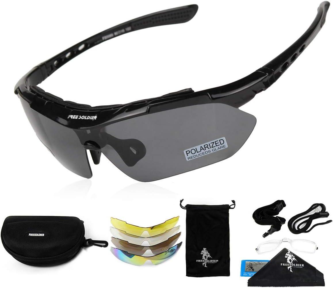 FREE SOLDIER Gafas de Ciclismo para Hombres Gafas tácticas Militares anti-UV400 Gafas de Sol polarizadas 5 en 1 para MTB Airsoft Correr, Pescar, Conducir, Deportes al Aire Libre