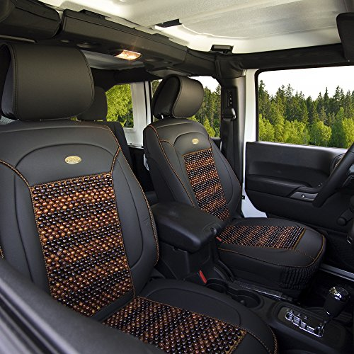 A4 Audi Cooling 2000 (FH Group PU203102 Premium Leather Seat Leather Cushion Pad Seat Covers w. Cooling Rosewood Beads, Black -Fit Most Car, Truck, SUV, or Van)