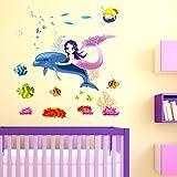 Decals Design 'Beautiful Mermaid Sitting on Dolphin Kids' Wall Sticker (PVC Vinyl, Multicolour, 50 cm x 70 cm x 1 cm)