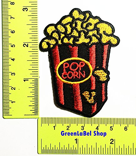 Popcorn Patch Logo Sew Iron on Embroidered Appliques Badge Sign Costume Send Free Registration