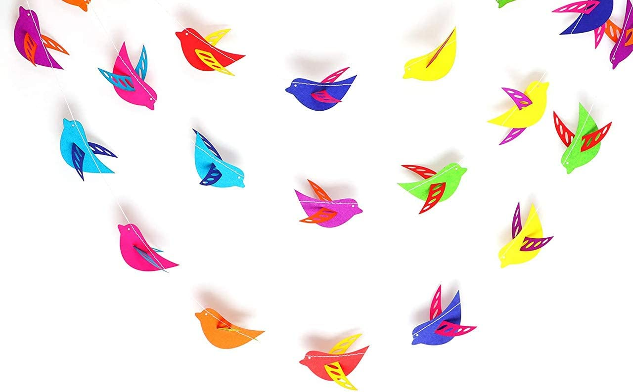 Rainbow 3 d Birds Garland 10ft Paper Garland, Birthday Party Decor, Wedding Shower Decor, Nursery Décor