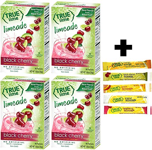 True Black Cherry Limeade Drink Mix, 10-count (Pack of 4) with 5 FREE Lemonade Sample ()