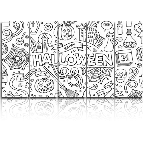 Large Canvas Wall Art 5 Pieces Modern Art Painting,Hand Painting Halloween Candy Pumpkin Spider Design Artworks for Bedroom Living Room Bathroom Office Home Decor Stretched and Ready to Hang,16x40ix5 -