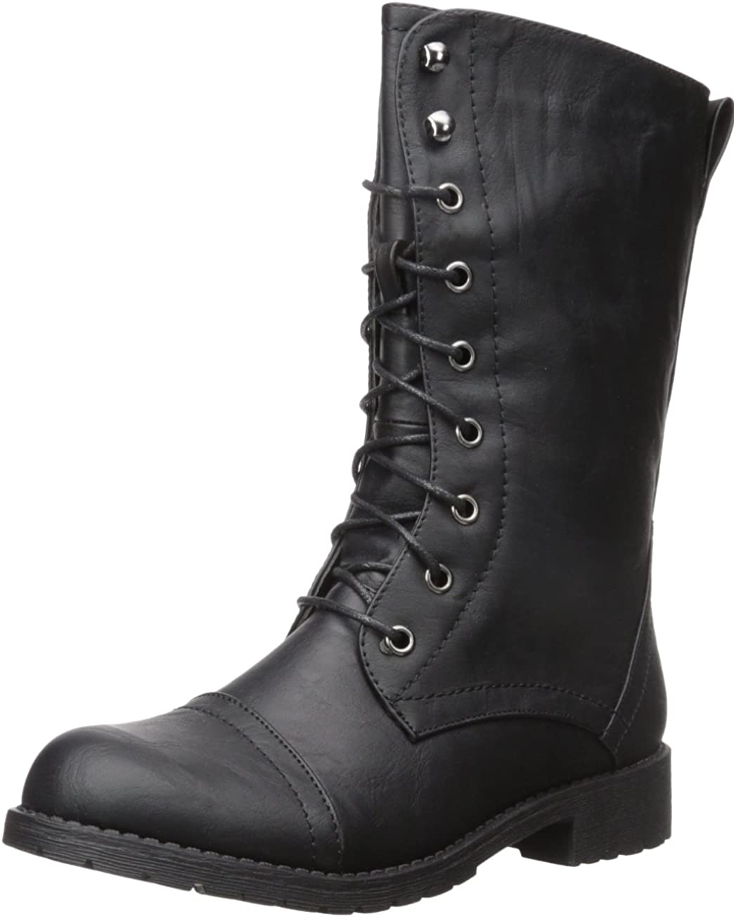 Nature Breeze Women's Casual Almond Toe Lace Up Zip Up Military Ankle Bootie - Black