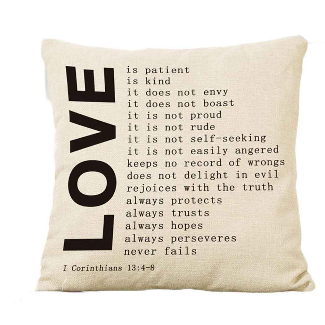 2018 Valentine's Day Pillow Case, Carolui New Lovers Painting Square Linen Cushion Cover, Throw Waist Pillow Case Sofa Bedroom Home Decor Good Valentine's Gift (A)