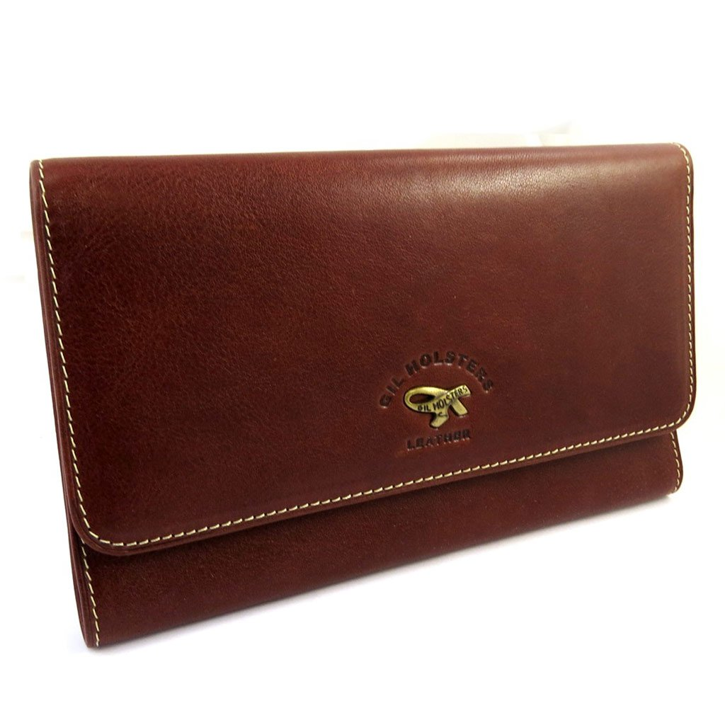 Leather wallet + checkbook holder 'Gil Holsters' brown.