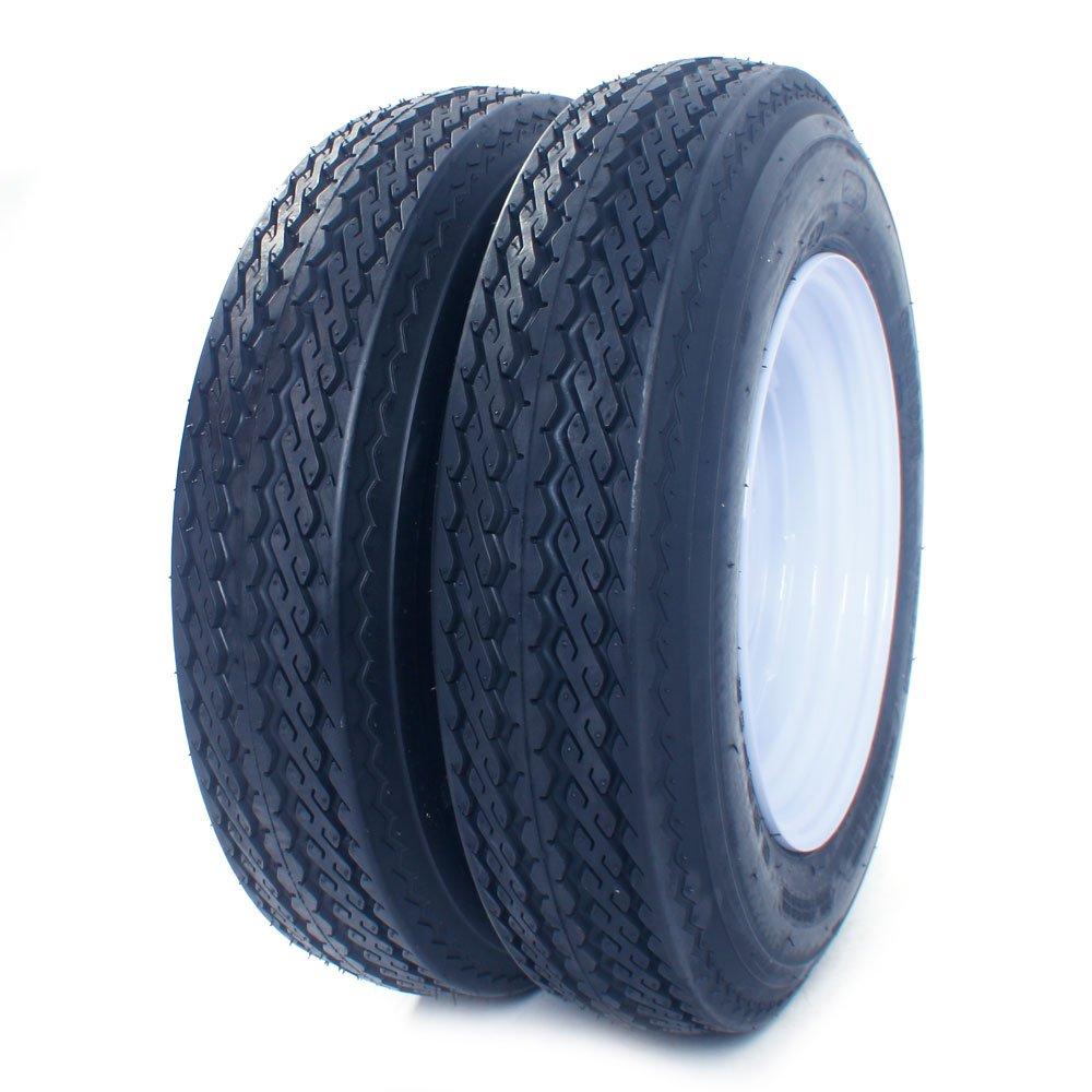 Roadstar Pair of 2 Trailer Tires & Rims 5.30-12 530-12 5.30x12 12'' LRB 5 Lug/4.5'' Hole Bolt White Spoke Wheel