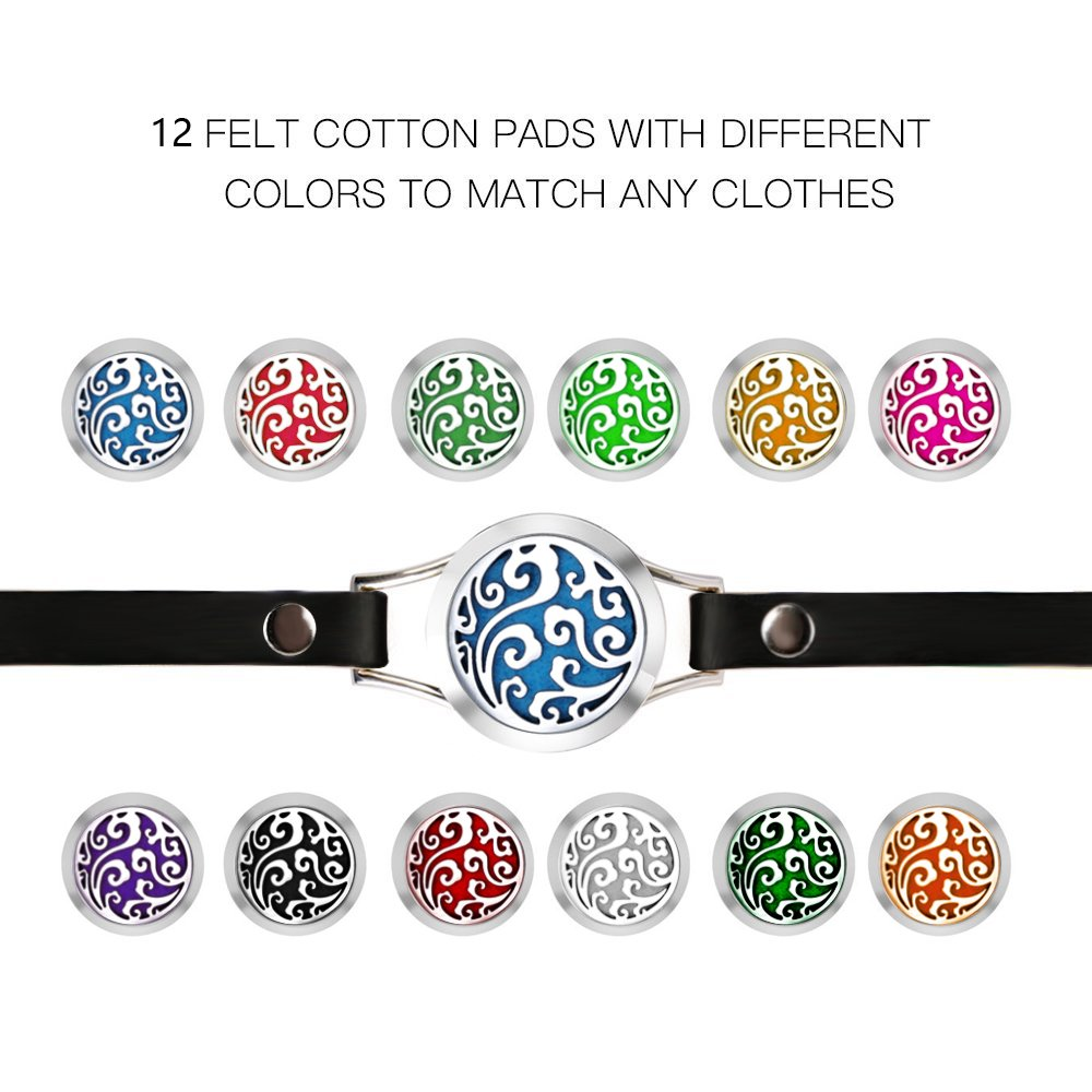 Essential-Oil-Diffuser-Bracelet-Aromatherapy-Locket-2-Leather-Bands-12-Color-Pads-Women-Jewelry-Gifts-Set-Family-Tree-Diffuser-Bracelet