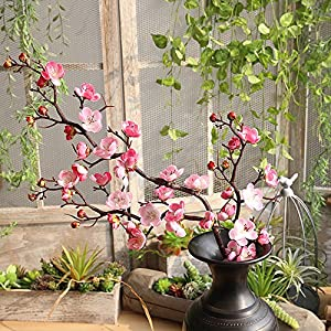 Vacally Artificial Silk Fake Flowers Plum Blossom Floral Wedding Bouquet Party Decor Home Garden Wedding Floral Sweet Decor Living Room Bedroom Plant Decor 77