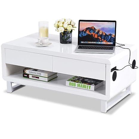 Amazon.com: Tangkula - Mesa de café moderna, con cajón ...