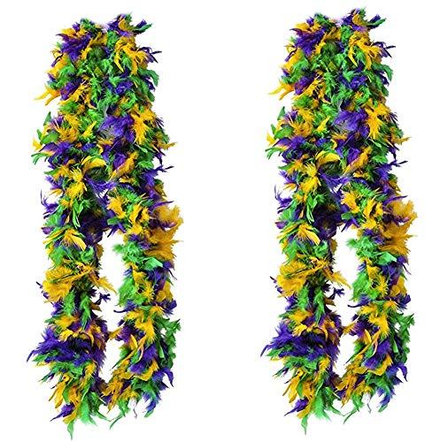 Tigerdoe Feather Boas - 2 Marabou Boas, Party Dressup Costume Accessories, 72 Inch Long (2 Pack Mardi Gras Boas)