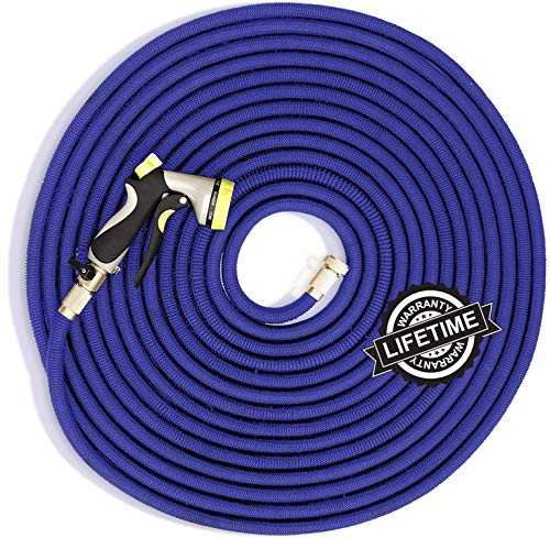 Plenty of Hose Flexible Garden Hose – Expandable – 150 Foot Water Hose – Extra Strength Latex Core, No Kink – Comes with Heavy Duty Brass Fittings and Spray Gun