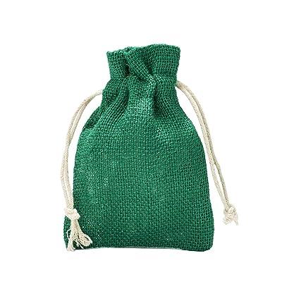 5 bolsas de yute con cordón de algodón. Tamaño: 40x30 cm, 100% yute, decoración invernal, envoltorio de regalos de navidad (verde): Juguetes y juegos