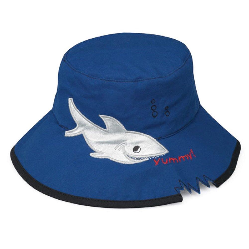 Wallaroo Children's Shark Sun Hat - UPF 50+ - Crushable, Blue