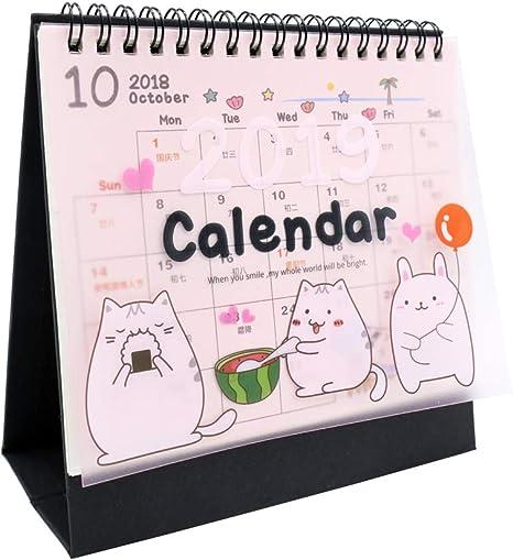Calendario de mesa 2018-2019 con calendario mensual (desde octubre de 2018 hasta diciembre de 2019) (dibujos animados): Amazon.es: Oficina y papelería