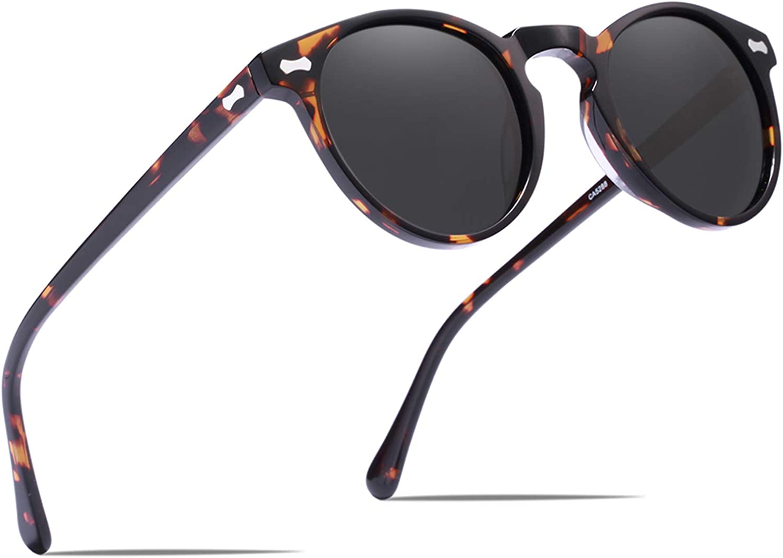 Carfia Vintage Round Polarized Sunglasses for Women UV Protection Outdoor Eyewear
