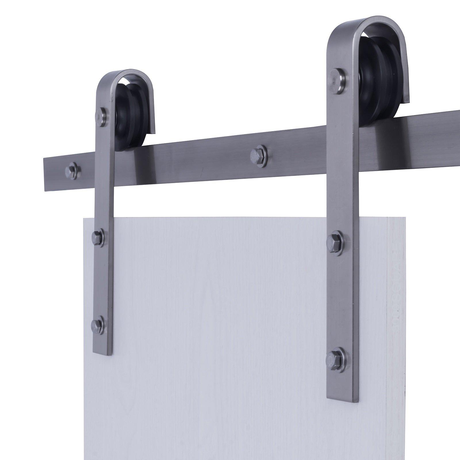 6.6 FT J Shaped Industrial Sliding Barn Door Track Rail Sliding Track Hardware Kit Country Style Barn Wood Door Basic Sliding Silver Steel Track Hardware Kit (6.6ft Silver Color)