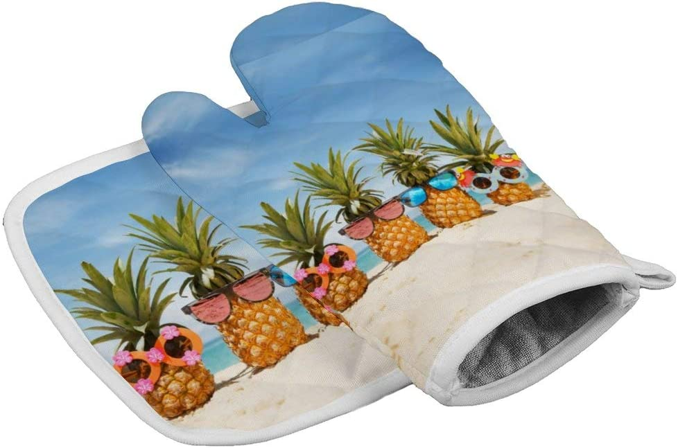 Beach Pineapple Oven Mitts,Professional Heat Resistant Microwave BBQ Oven Insulation Thickening Cotton Gloves Baking Pot Mitts with Soft Inner Lining