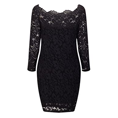 Minisoya Women Vintage Off Shoulder Lace Cocktail Evening Party Dress Retro Floral Bodycon Formal Wedding Dress