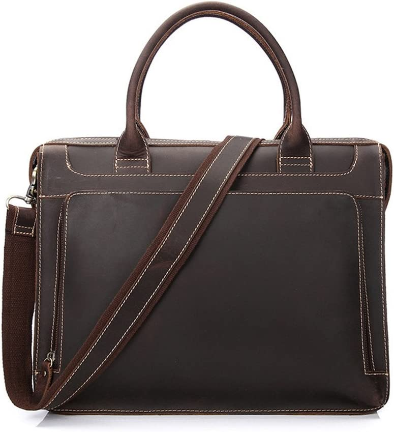 Limaomao-Bag Mens Briefcase Mens Briefcase First Layer Leather Mens Tote Suitable for Business Casual Business Briefcase