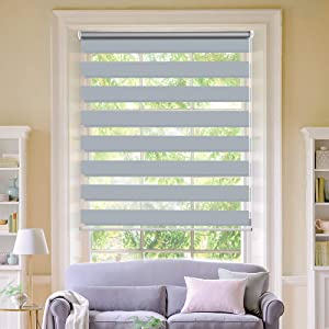 """LUCKUP Horizontal Window Shade Blind Zebra Dual Roller Blinds Day and Night Blinds Curtains,Easy to Install 27.6"""" x 90"""" Grey"""