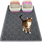 "Mihachi Cat Litter Mat - 35""x23"" Kitty Litter Trapping Mats,Litter Lock Mesh,Phthalate & BPA Free,Extra Large,Grey"