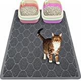 Mihachi Cat Litter Mat - 35''x23'' Kitty Litter Trapping Mats,Litter Lock Mesh,Phthalate & BPA Free,Extra Large,Grey